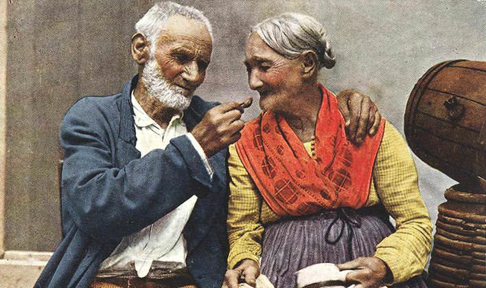 Starý manželský zaľúbený pár