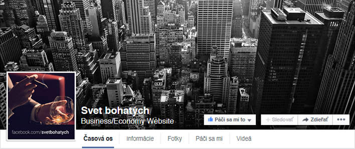 Svet Bohatých Facebook FanPage
