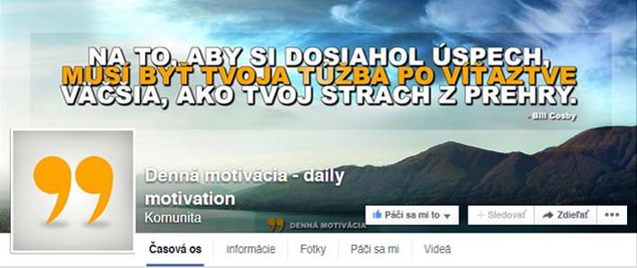 Denná Motivácia Facebook FanPage